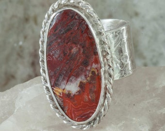 Red Lace Agate Ring Wide Band Sterling Silver Size 6.5