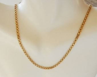 Solid 14k Yellow Gold Wheat Chain Necklace Marked, 16 inch