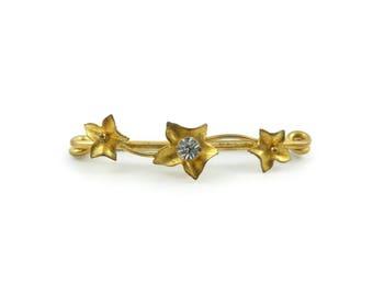 Vintage Art Nouveau Safety Pin, Matte Gold Tone, Rhinestone, M46