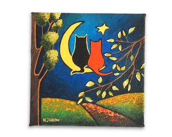 Black Cat Art Orange Tabby Cat on the Moon Original Painting, OOAK Cat Lover Gift, Best Friend Gift, Canvas Art