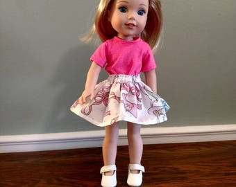 Cute ballet slipper print skirt and pink t-shirt for Wellie Wisher Size Doll.  W662