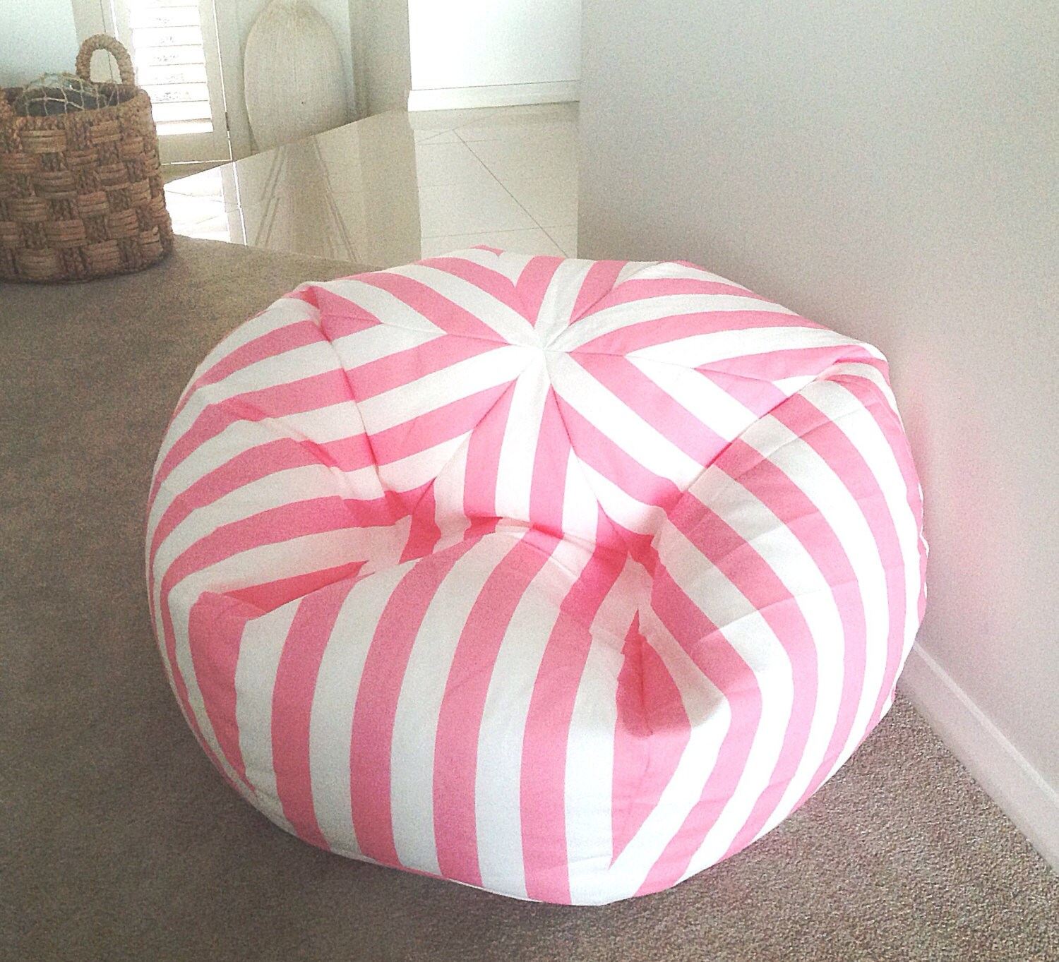 Kids Bean Bag Pink And White Canopy Stripes Cover