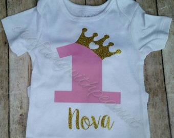 First Birthday Princess Onesiecrown Shirt Im One Onesie Girl