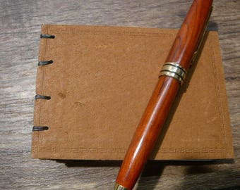 Small Tan Leather Coptic Stitch Notebook, hardcover