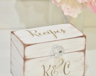Personalized recipe box, wooden recipe box, home decorations, wedding gift