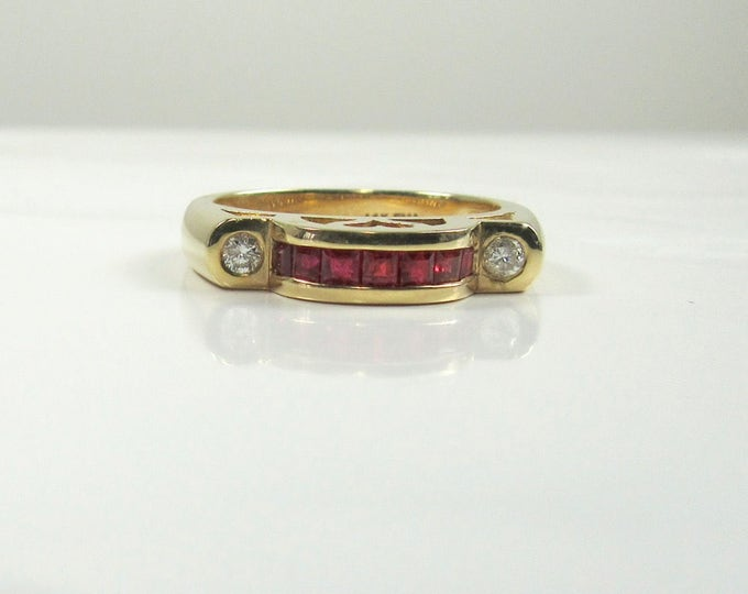 Ruby and Diamond Ring, July Birthstone Ring, Promise Ring, Engagement Ring, Ruby Ring with Heart Shaped Cut Out, Yellow Gold Ruby Ring