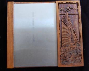 LASER cut, SAILBOAT, wooden, note pad holder, desk set, boat, marine, nautical, wooden boat, laser, vintage,