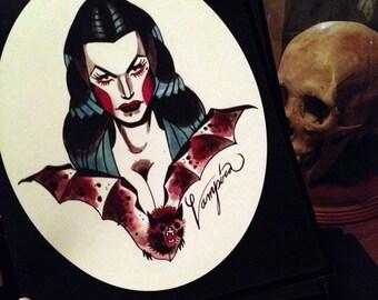 vampira tattoo flash portrait - 8 x 10