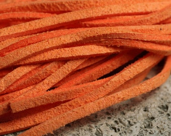 Leather lace orange 38 inches each piece, light orange red, 8 pcs (item ID YWLCBO)