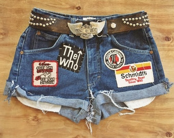 Summertime Blues patched up vintage shorts