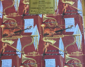 Instruments with Sheet Music Vintage Wrapping Paper Imported by Marcel Schurman