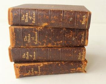 Set of Four Antique Books by Black, Works of Guy De Maupassant, 1903, Alexandre Dumas, 1927, Honore de Balzac, 1926, William Shakespeare
