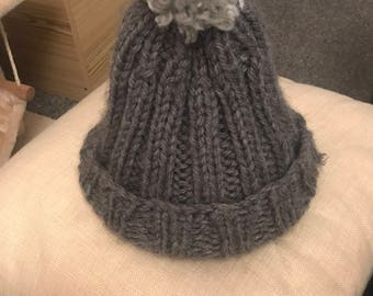 Hand Knitted Ribbed Woolly Bobble Hat