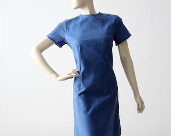 vintage 60s denim shift dress, mod jumper