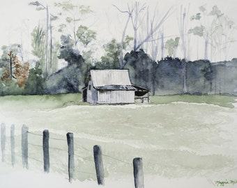 ORIGINAL - Barn in Rain