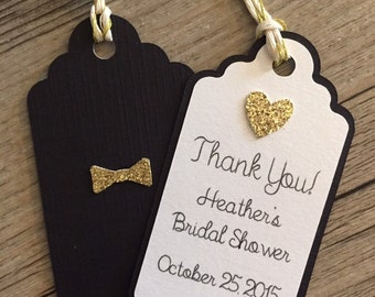 Kate Inspired  Favor Tags/Thank you Tags/Birthday Tags/Gift Tags in gold glitter, black white shimmer and twine