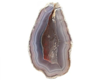 Agate Geode Violet Bands Crystal Cave Geode  Superior polish on front, Mexican Gemstone from an estate geo gem collection, Earth Treasure
