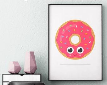 Food print, donut print, food printable, donut wall art, donut print download, donut printable art, donut art, kawaii food art, kitchen art
