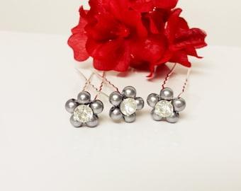 Gunmetal Gray Pearl Hair Pins - Set of 3 Bridesmaid Hair Pins - Rhinestone Flower Girl Hair Accessories