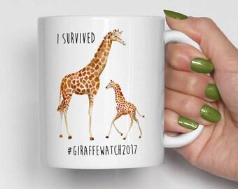 I Survived Giraffe Watch 2017 Mug, Giraffe Coffee Mug, April The Giraffe, Birthday Gift, Funny Coffee Mugs, Tajiri Mug (0036)