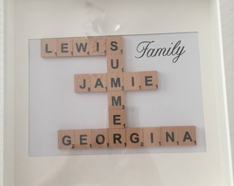 Beautiful Scrabble Word Art Photo Frame - up to 4 names