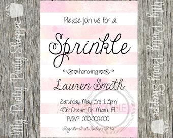 Baby Sprinkle Baby Shower Invitation Custom Digital Printable Pink Watercolor