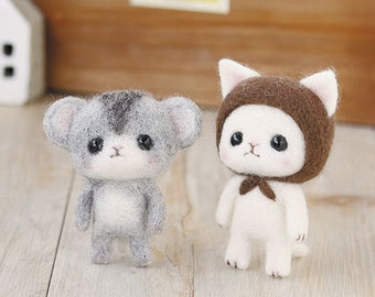 Hamanaka Needle Wool Felt Kit White cat and jungarian hamster kawaii from Japan