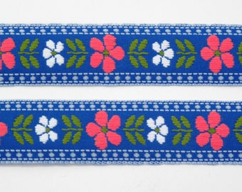 "Pink & White Daisy Floral on Blue Jacquard Ribbon Vintage Sewing Trim,  Tyrolean Trim 7/8"" wide - 3 yards - Millinery, Haberdashery"