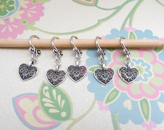 Set of 5 Silver Heart Snag Free Stitch Markers for Knitting, Knitting Marker, Progress Marker, WIP Markers, Fits 8 mm or US 11