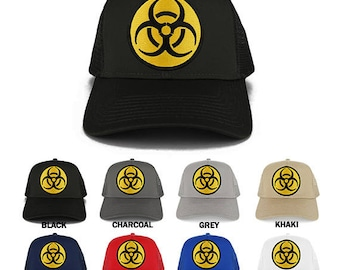BIOHAZARD Circular Yellow Black Embroidered Iron on Patch Adjustable Trucker Mesh Cap (30-287-OTHER-27)