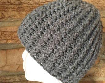 Mens Gray Hat, Crochet Mens Beanie