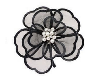Black organza flower and leather