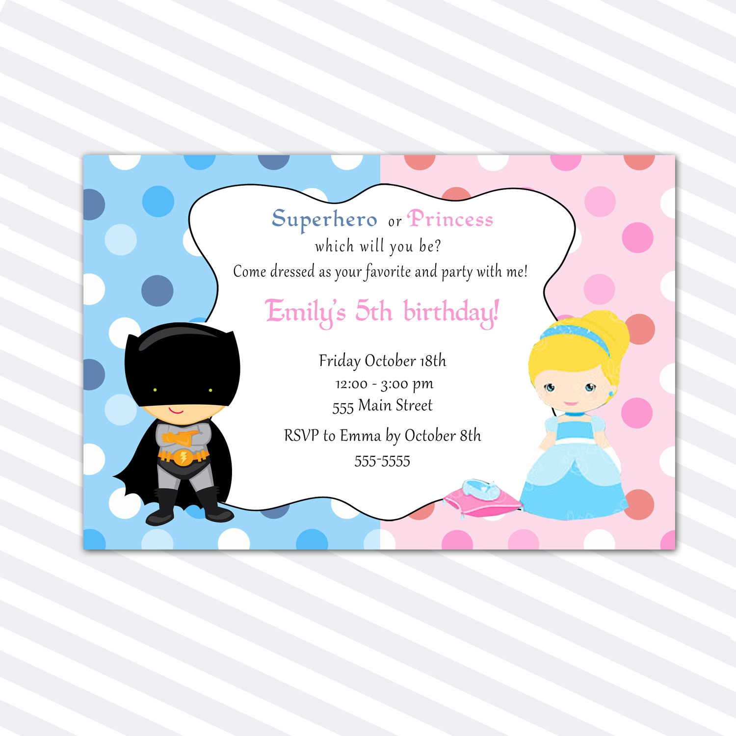 Princess Birthday Invitation Card Superhero Siblings Girl
