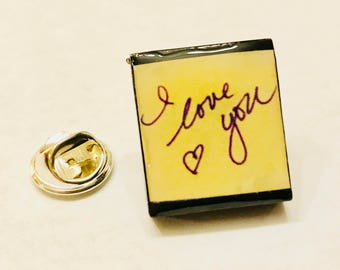 Custom Scrabble Tile Lapel Pin With Your Handwritten Message - Or any photo or design
