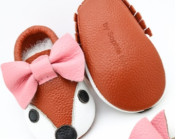 Baby Fox Moccasins, Baby FOX Bow Moccasins, Baby Leather Shoes, Genuine Leather Moccs, Toddler Fox Moccasins, Baby Moccs, Baby Shower Gift