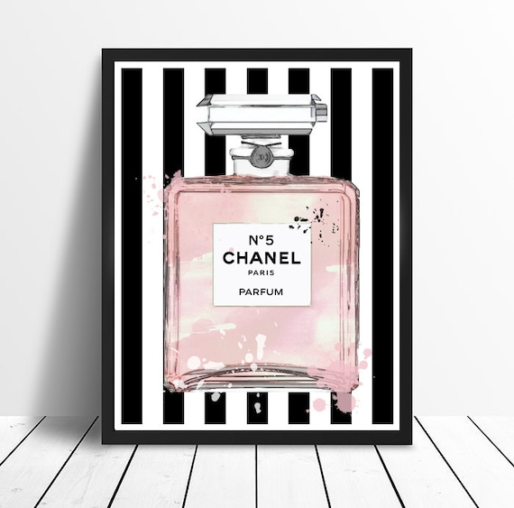 Chanel No 5 No5 No.5 Pink Perfume Bottle With Stripes And