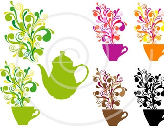 Coffee and tea digital clip art set, cup, pot, silhouettes, cafe, vector clipart, commercial use, PNG, EPS, SVG files, instant download