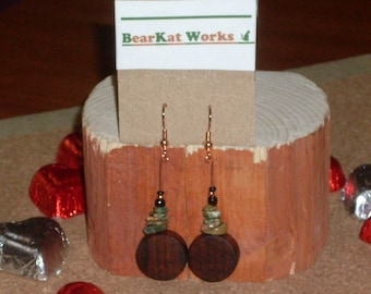 Hand-Lathed Cocobolo Coins and Rainforest Jasper (Rhyolite) Earrings