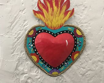 Fiesta Wedding Sign Sacred Heart large mexican art hojalata tin art heart mexican decoration wall art bride groom chair bride chair sign