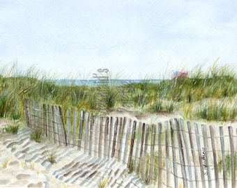 9/12/01 - fine art print of original watercolor painting, Long Island, beach flag