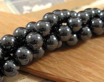 Hematite 8mm Round Beads - 50 Count