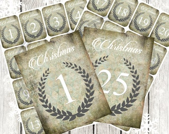 Numbered Christmas Advent Gift Tags, Christmas Tags 1-25, Gift tags, Christmas Card, , Instant download