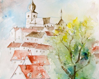 Original watercolor french town with houses and church, original painting french town around the church