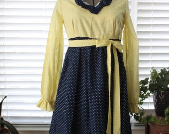 1970s Two-Tone Polka-Dot Baby-Doll Dress