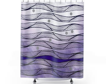 Purple Ombre Shower Curtain, Abstract Wave Pattern, Contemporary Bathroom  Decor.