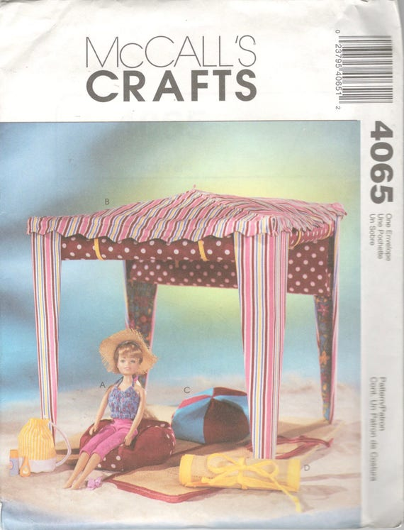 McCalls 4065 Barbie Puppe Strand Puppe Kleidung Cabana Bean