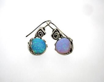 Sterling Silver Dangle Earrings.Blue opal Earrings, Design by Amir Poran,