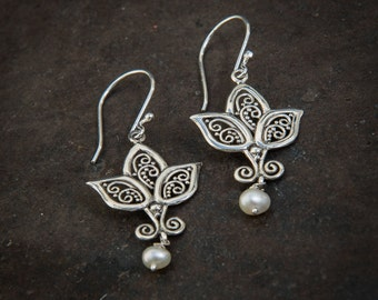 Lotus Flower Earrings with White Freshwater Pearls - Gold Vermeil or Sterling Silver