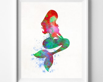 Ariel Print, Little Mermaid, Princess Ariel, Disney Princess, The Little Mermaid, Disney Art, Watercolor Painting, Type 2, Fathers Day Gift