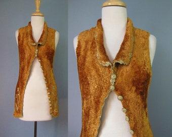Faux Fur Vest / Vtg 90s / Lianne Barnes Stretchy Embroidered Crocheted Orange Faux Fur Vest